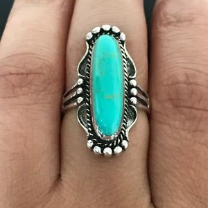 Jewelry - Sterling Silver Turquoise Victorian Ring
